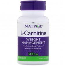 L-Carnitine (Natrol), 500 мг, 30 капсул