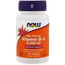 Высокоактивный Vitamin D3 5000ME (Now Foods), 120 капсул