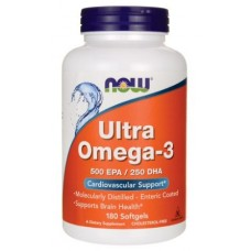 Ultra Omega-3 500 EPA/250 DHA (Now), 180 гел капсул, 1000 мг