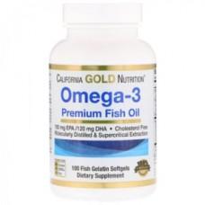 Omega-3 Premium Fish Oil (California Gold Nutrition), 100 капсул