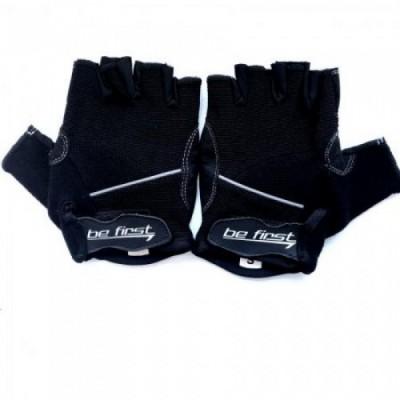 Перчатки черные с белой полоской